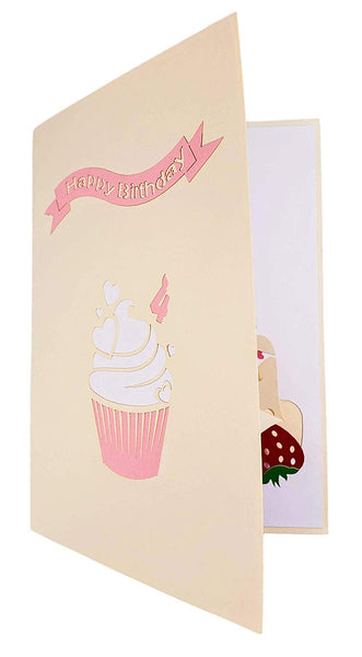 4th Birthday Pink Hearts Cupcake 3D Pop Up Greeting Card 8