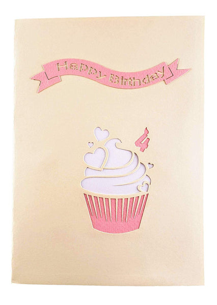 4th Birthday Pink Hearts Cupcake 3D Pop Up Greeting Card 9