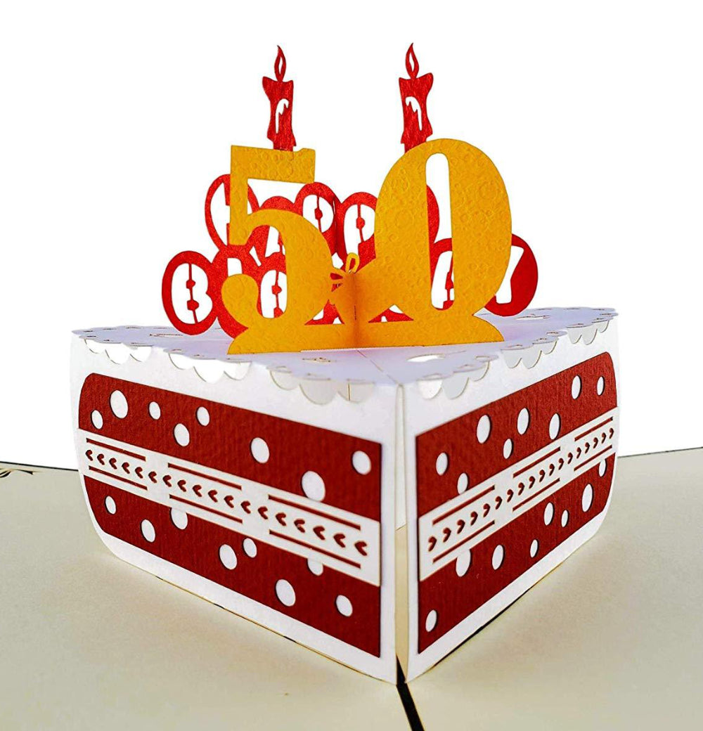 50th Birthday Cake 3D Pop Up Card 1 front