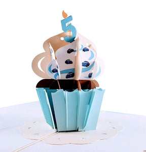 5th Birthday Blue Cars Cupcake 3D Pop Up Greeting Card 1 front