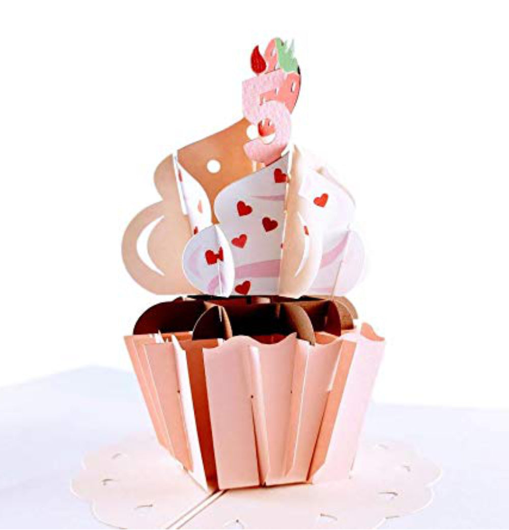 5th Birthday Pink Hearts Cupcake 3D Pop Up Greeting Card 1 front