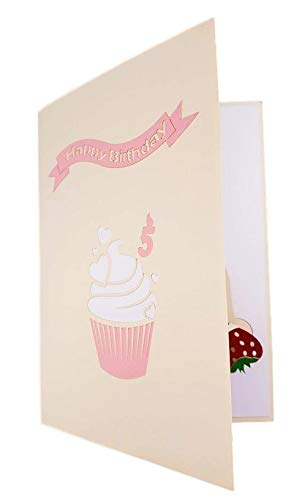 5th Birthday Pink Hearts Cupcake 3D Pop Up Greeting Card 7