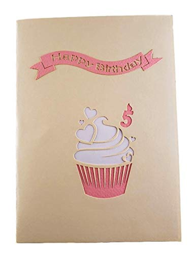 5th Birthday Pink Hearts Cupcake 3D Pop Up Greeting Card 8