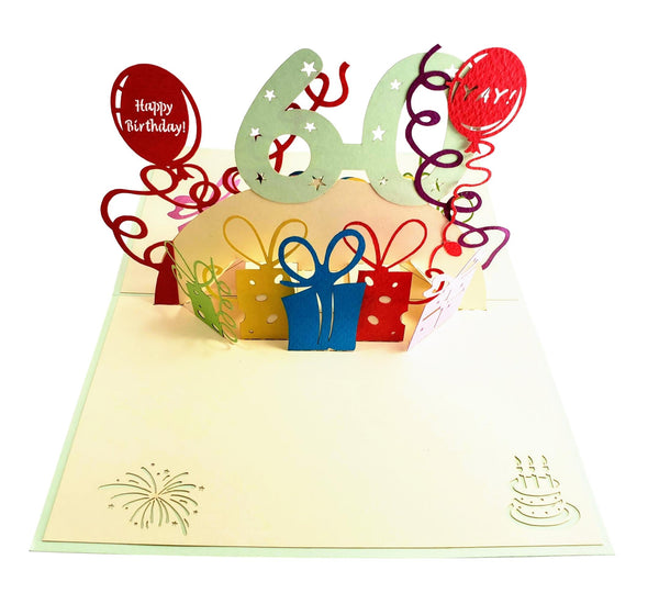 Happy 60th Birthday With Lots of Presents 3D Pop Up Greeting Card 2
