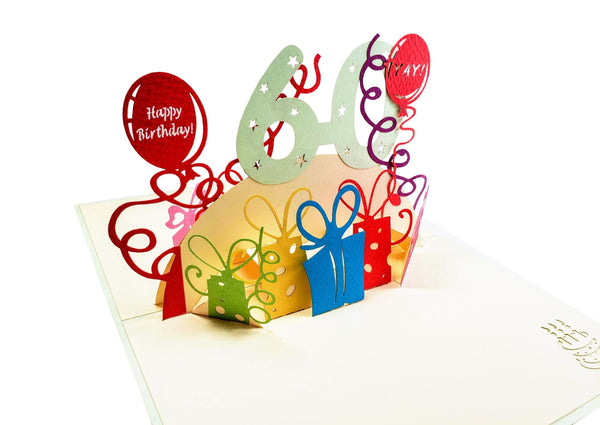 Happy 60th Birthday With Lots of Presents 3D Pop Up Greeting Card 4