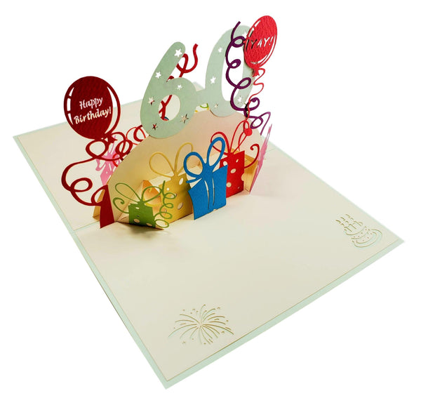 Happy 60th Birthday With Lots of Presents 3D Pop Up Greeting Card 6