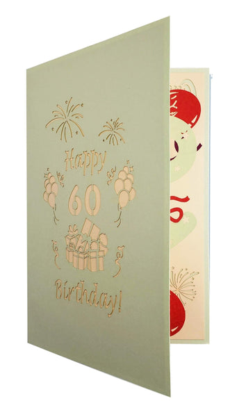 Happy 60th Birthday With Lots of Presents 3D Pop Up Greeting Card 7