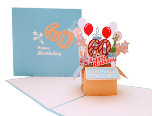 Happy 60th Birthday Blue Party Box 3D Pop Up Greeting Card