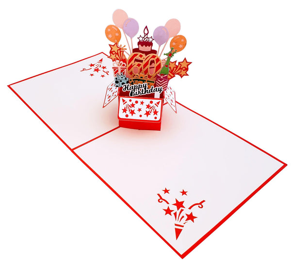 Happy 60th Birthday Red Party Box 3D Pop Up Greeting Card