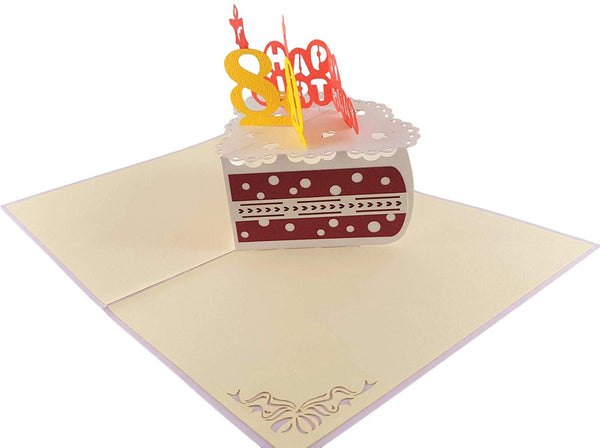 Happy 80th Birthday Cake 3D Pop Up Card 5
