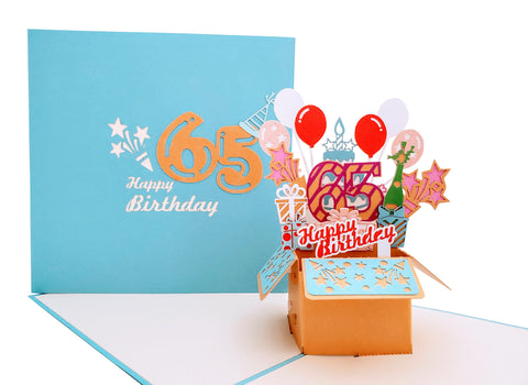 Happy 65th Birthday Blue Party Box 3D Pop Up Greeting Card