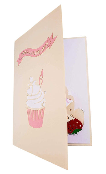 6th Birthday Pink Hearts Cupcake 3D Pop Up Greeting Card 8