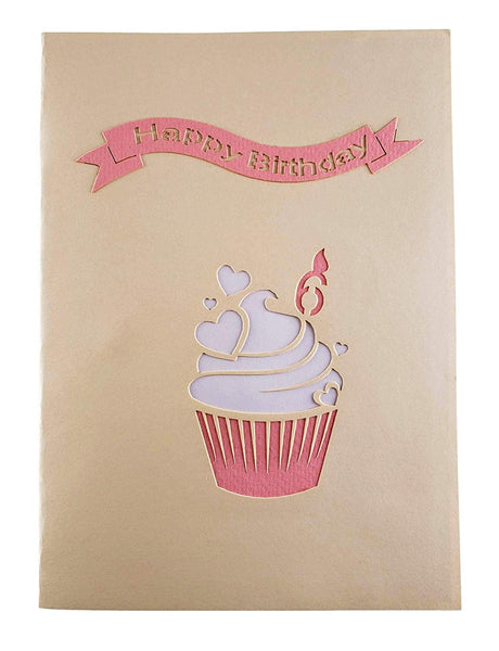 6th Birthday Pink Hearts Cupcake 3D Pop Up Greeting Card 9