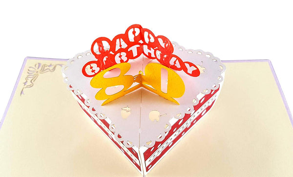 Happy 80th Birthday Cake 3D Pop Up Card 3