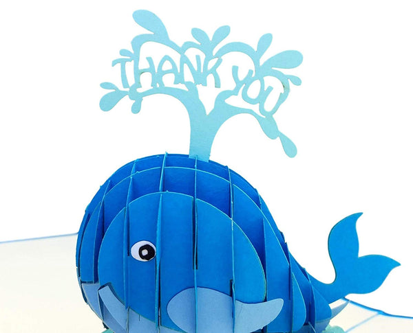 Cute Blue Whale Thank You 3D Pop Up Greeting Card 4