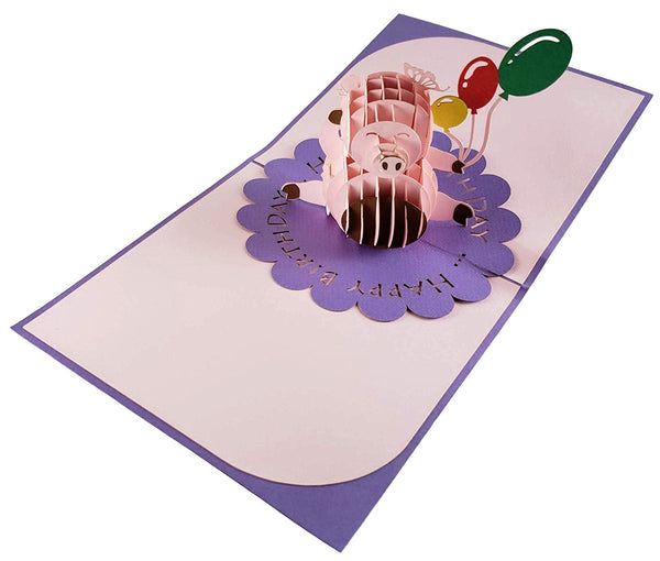 Pink Pig with Balloons Birthday 3D Pop Up Greeting Card 7