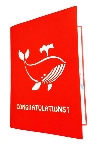 Unique Congratulations Whale (Red Cover) 3D Pop Up Card 4