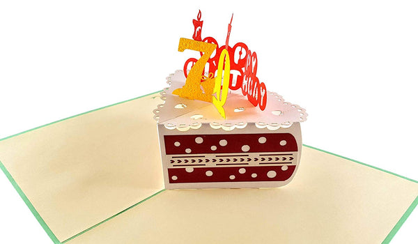 Happy 70th Birthday Cake 3D Pop Up Card 5