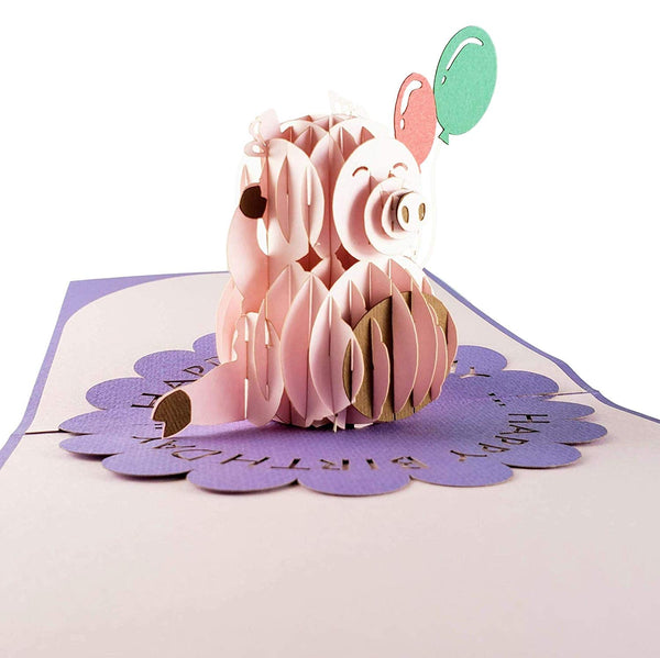 Pink Pig with Balloons Birthday 3D Pop Up Greeting Card 3