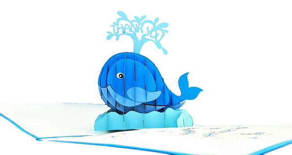 Cute Blue Whale Thank You 3D Pop Up Greeting Card 3