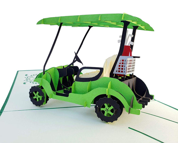 Green Golf Cart 3D Pop Up Greeting Card 4