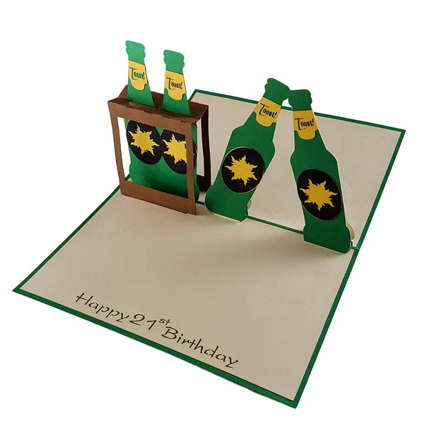 Happy 21st Birthday Beer Version 3D Pop Up Card 2