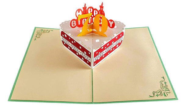 Happy 70th Birthday Cake 3D Pop Up Card 3