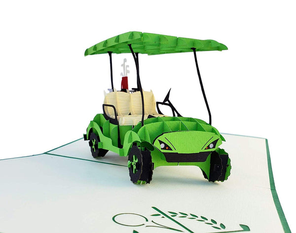 Green Golf Cart 3D Pop Up Greeting Card 7