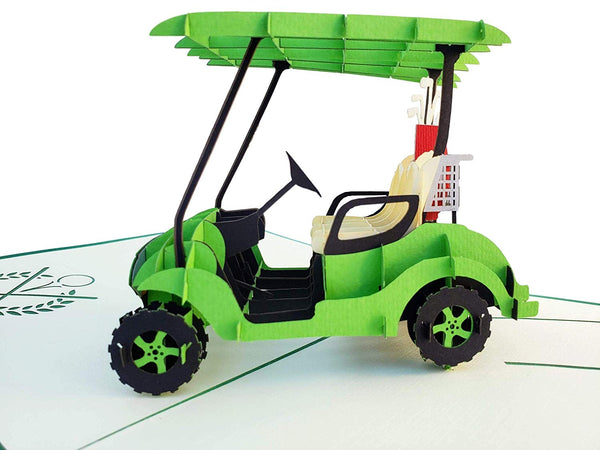 Green Golf Cart 3D Pop Up Greeting Card 3
