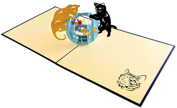 Two Cute Cats With Fish Bowl 3D Pop Up Greeting Card 4