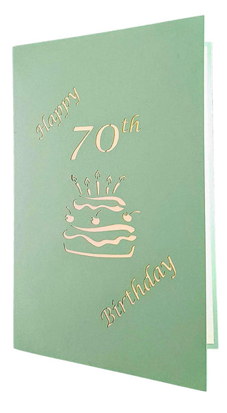 Happy 70th Birthday Cake 3D Pop Up Card 6