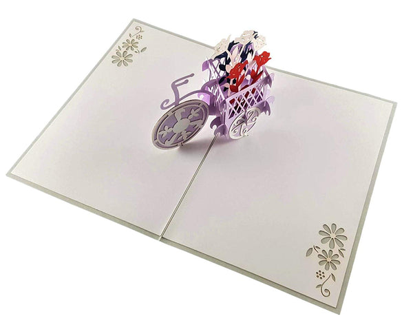 Patriotic Bicycle Plant Stand 3D Pop Up Greeting Card 5