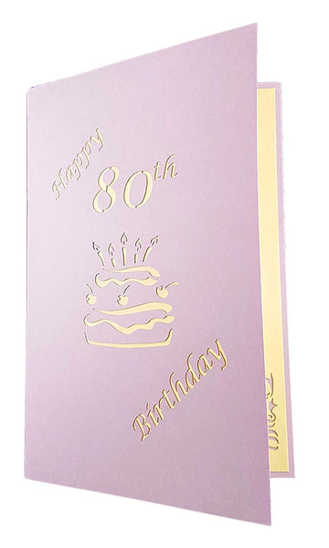 Happy 80th Birthday Cake 3D Pop Up Card 6