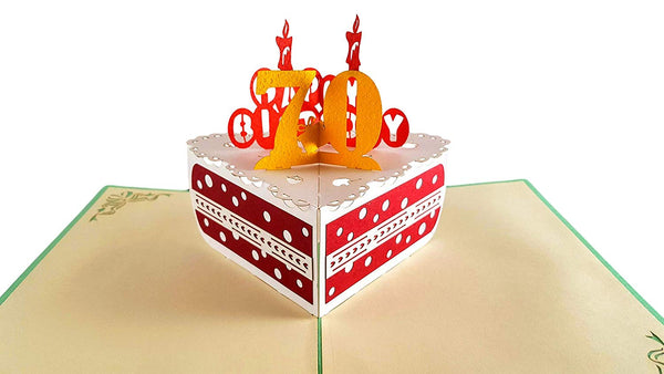Happy 70th Birthday Cake 3D Pop Up Card 2