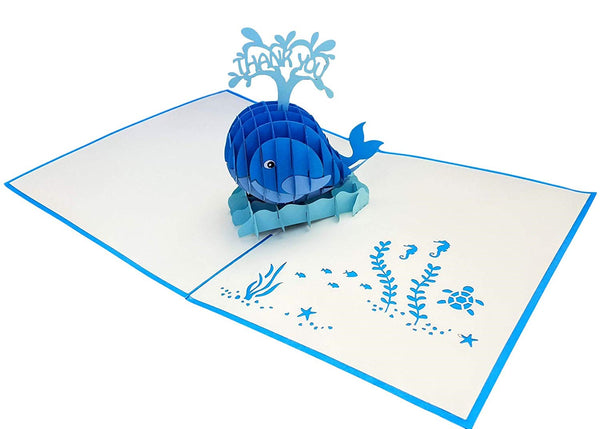 Cute Blue Whale Thank You 3D Pop Up Greeting Card 2
