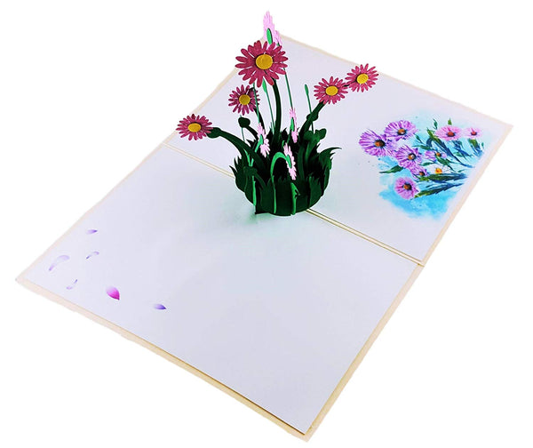 Purple Daisies 3D Pop Up Greeting Card 2