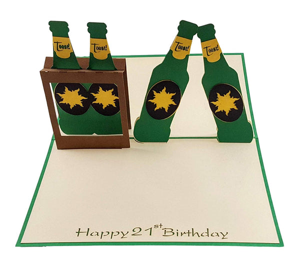 Happy 21st Birthday Beer Version 3D Pop Up Card 3