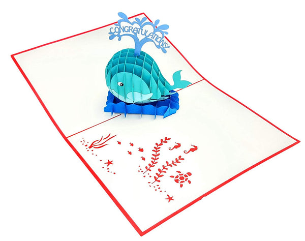 Unique Congratulations Whale (Red Cover) 3D Pop Up Card 2
