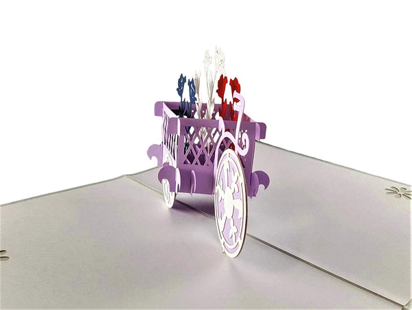 Patriotic Bicycle Plant Stand 3D Pop Up Greeting Card 7