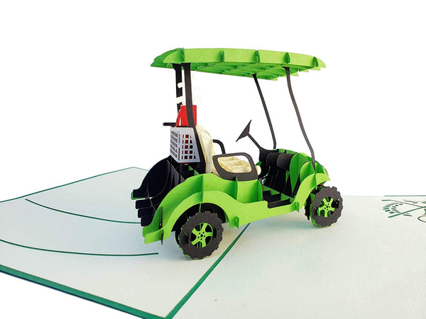 Green Golf Cart 3D Pop Up Greeting Card 6