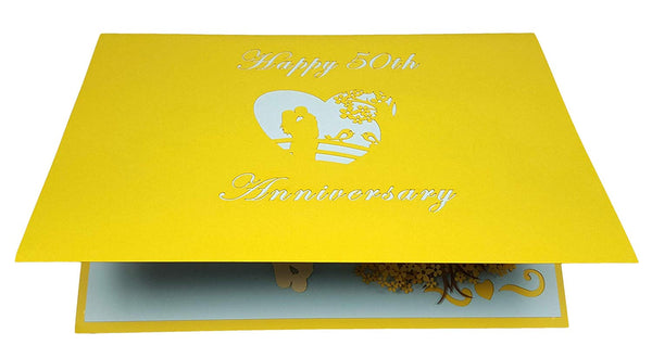 Happy 50th Anniversary 3D Pop Up Greeting Card 7