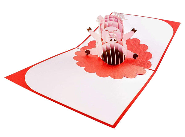 Chinese New Year Pig 3D Pop Up Greeting Card 3