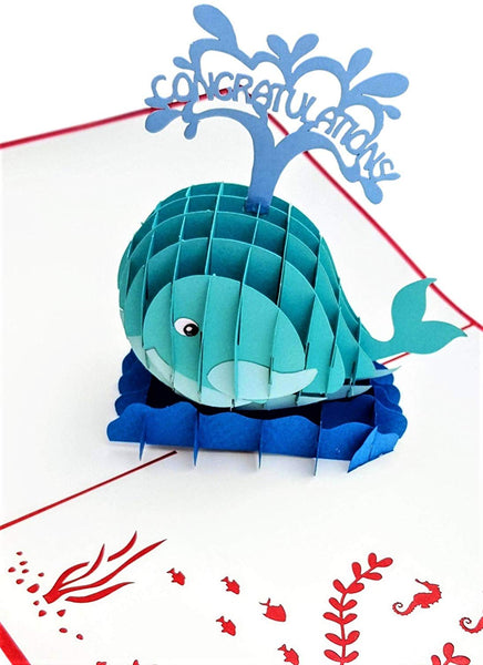Unique Congratulations Whale (Red Cover) 3D Pop Up Card 3