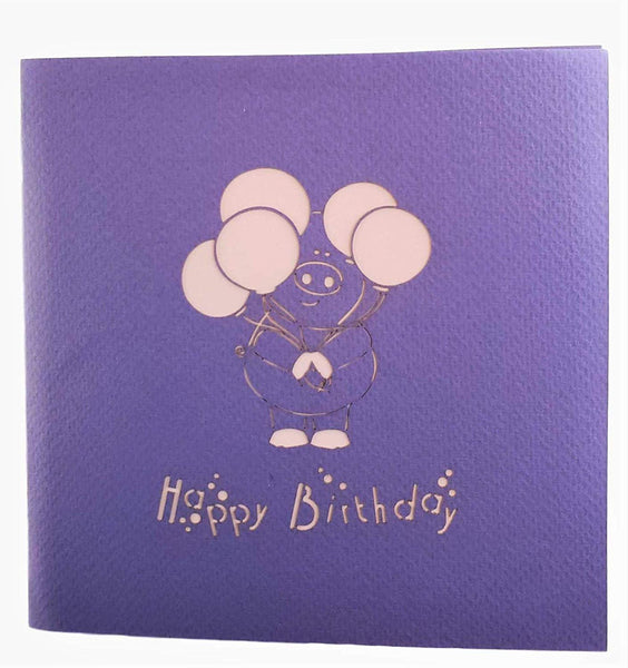 Pink Pig with Balloons Birthday 3D Pop Up Greeting Card 9