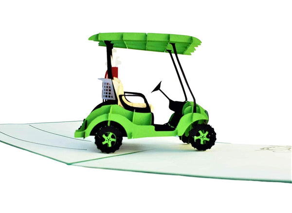 Green Golf Cart 3D Pop Up Greeting Card 5