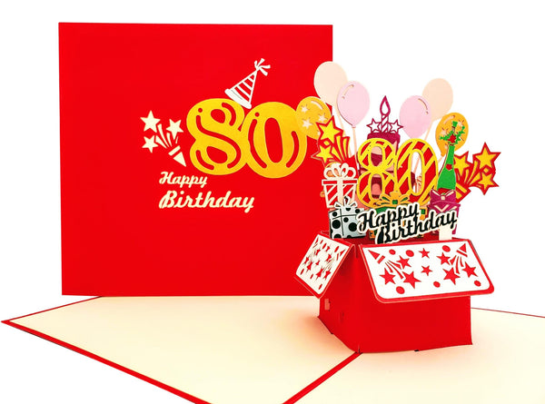 Happy 80th Birthday Red Party Box 3D Pop Up Greeting Card