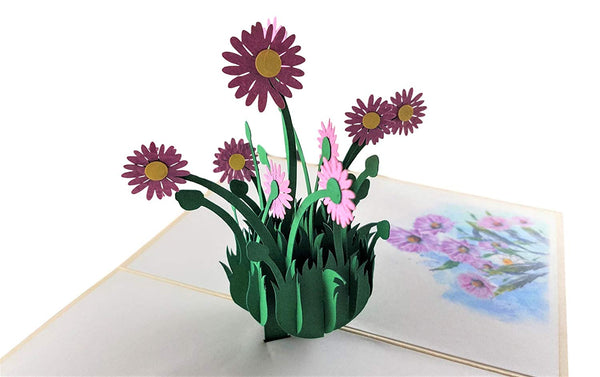 Purple Daisies 3D Pop Up Greeting Card 3