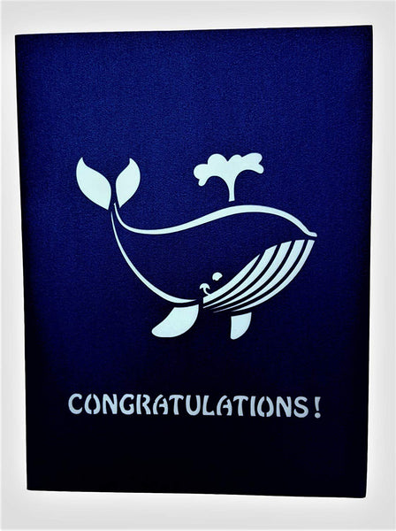 Unique Congratulations Whale (Blue Cover) 3D Pop Up Card 6