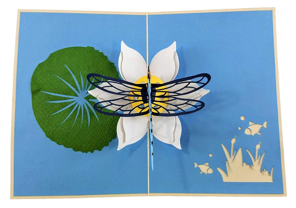Blue Dragonfly 3D Pop Up Greeting Card 2