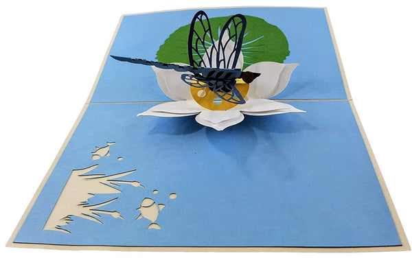 Blue Dragonfly 3D Pop Up Greeting Card 4